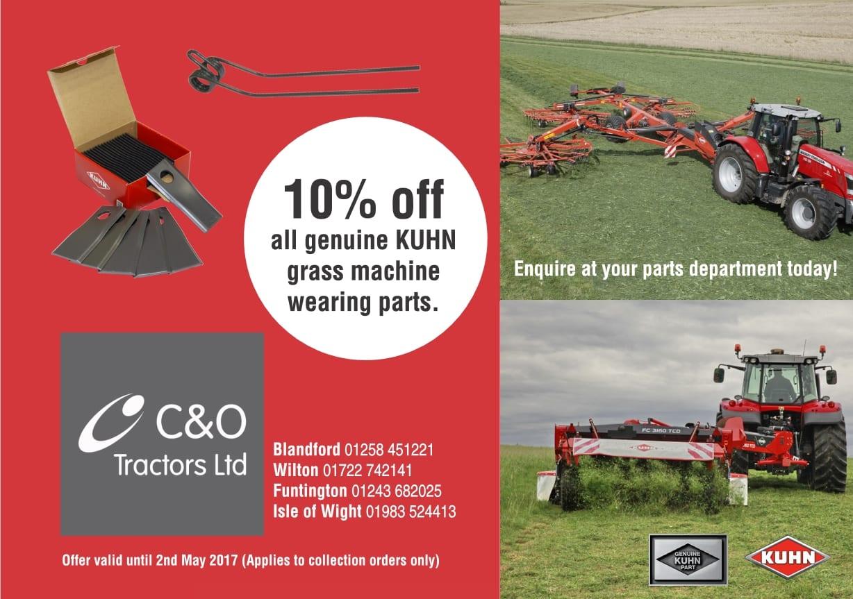 10% off all genuine Kuhn grass machine wearing parts