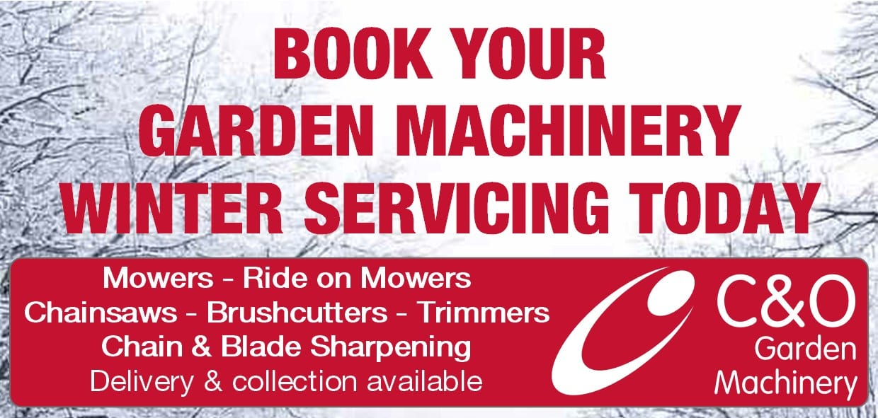 Book your Garden Machinery Winter Service with C&O