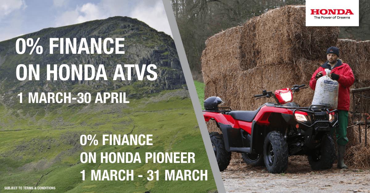 0% finance on all Honda ATVs